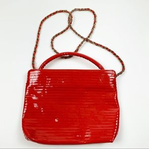 Ande Vintage Patent Leather Red Textured Purse
